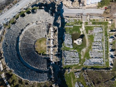 Aerial photo of the Antique Theater. Side, Turkey