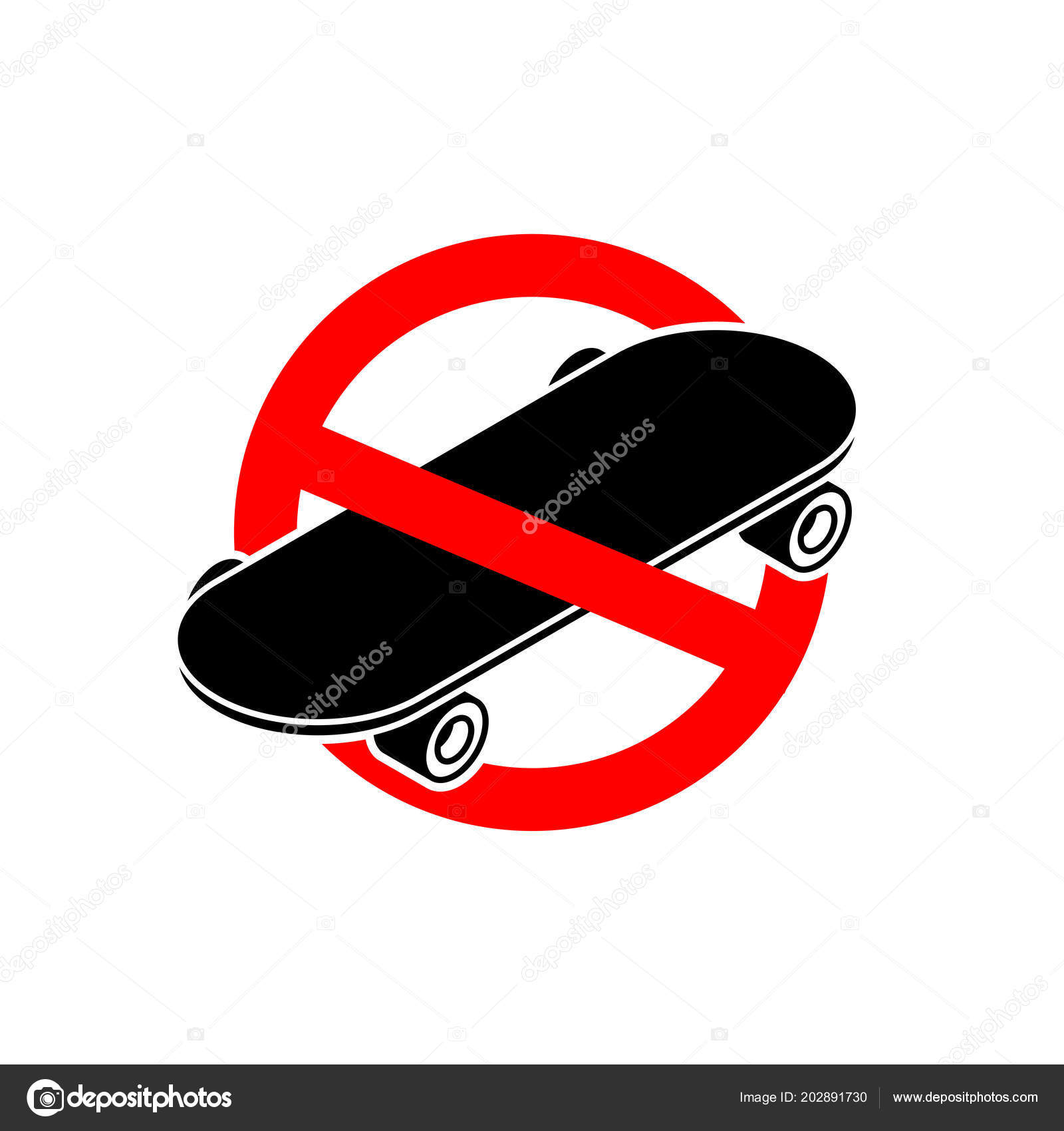 Stop Skateboard Skateboarding Forbidden Ride Board Red Prohibitory