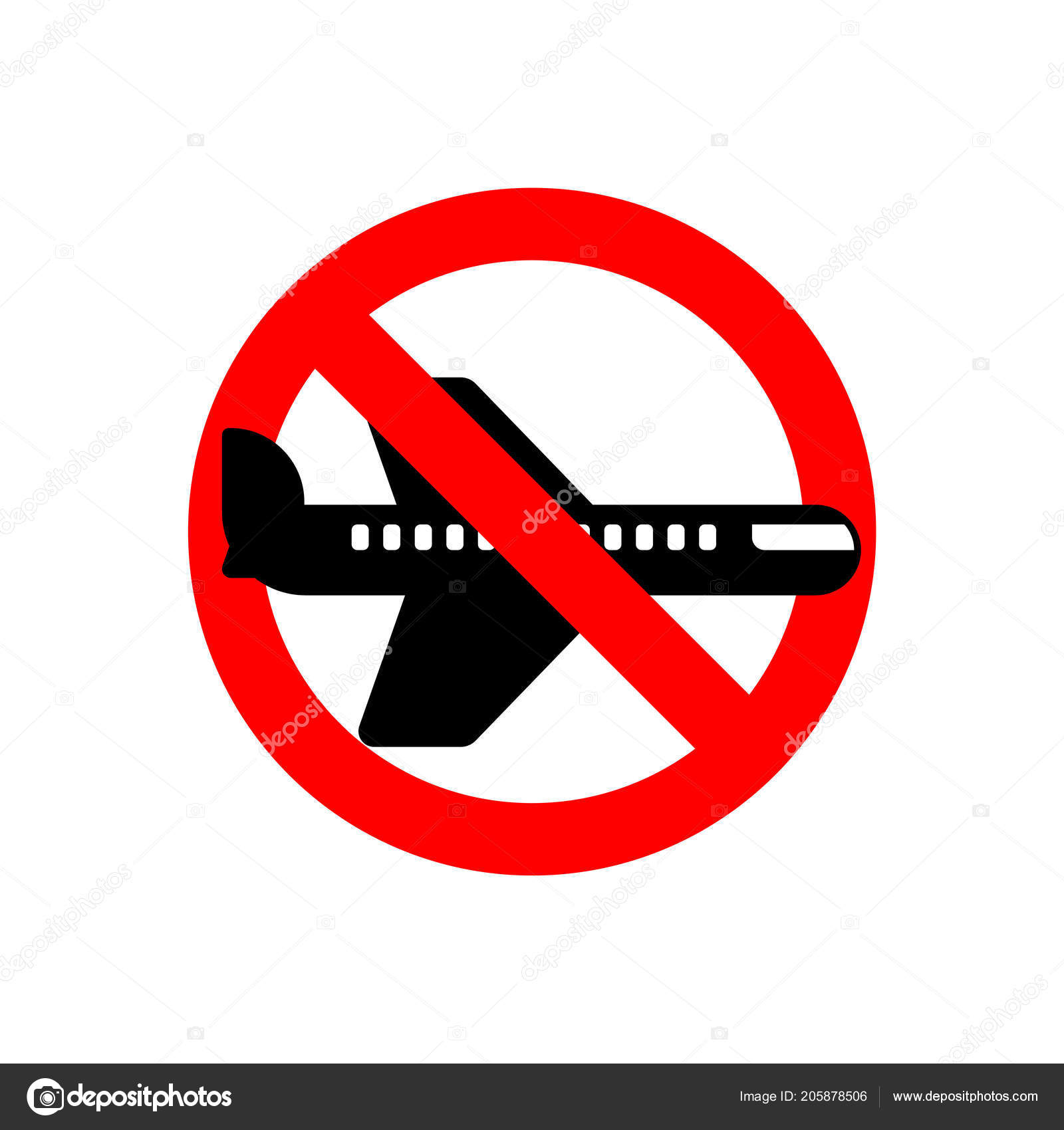 Stop Aircraft Forbidden Fly Airliner Red Prohibitory Road