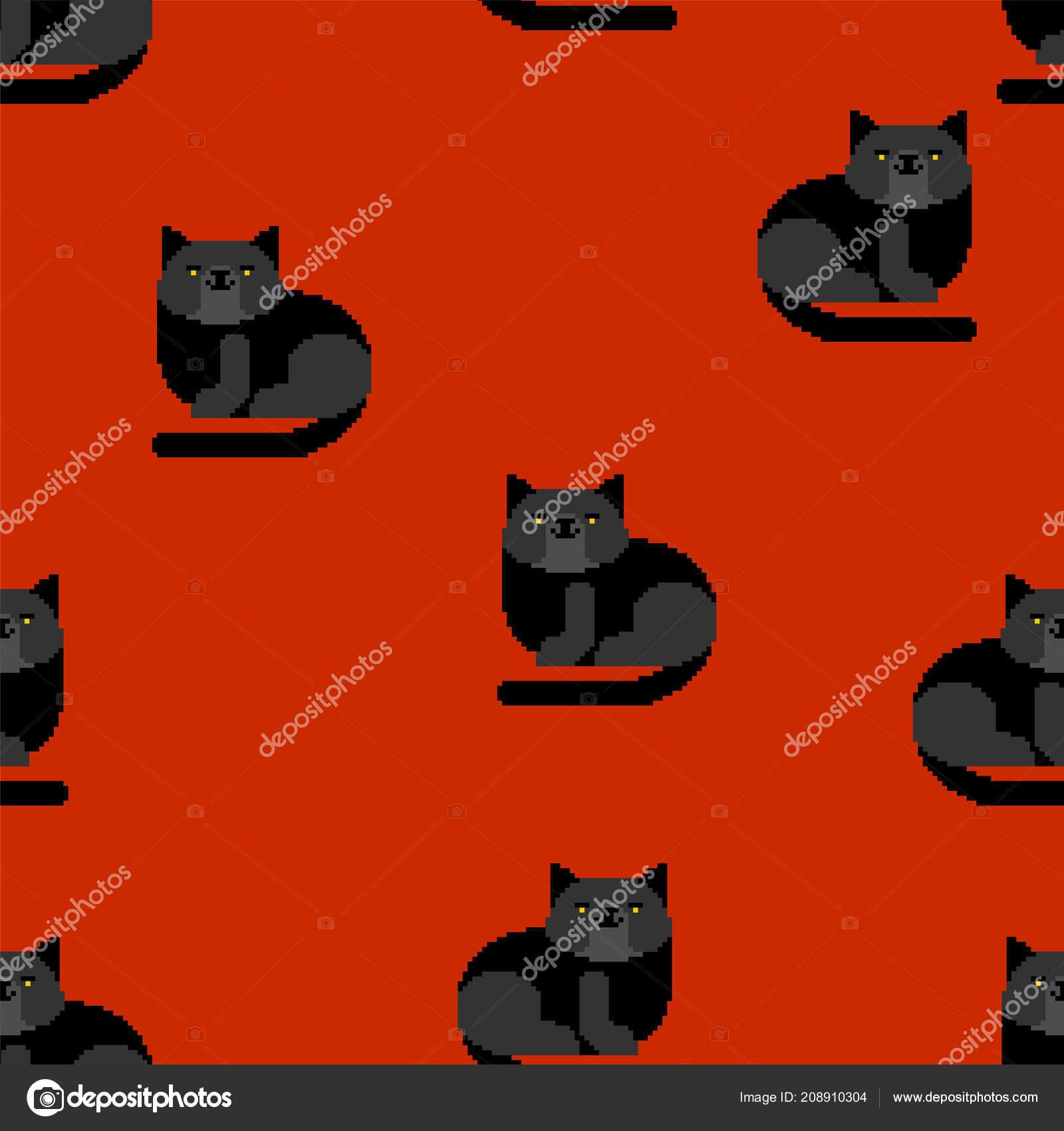 Motif Chat Noir Pixel Art Sans Soudure Bit Fond Animaux