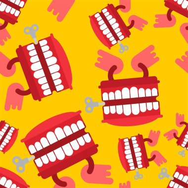 Chatter teeth toy pattern seamless. April Fools Day ornament. Jaw toy background vector