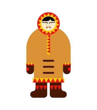 Eskimo inuit isolated. arctic traditional  Man of north. Chukchi Vector illustration