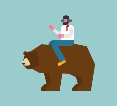 Russian man riding bear. National folk beast from Russi