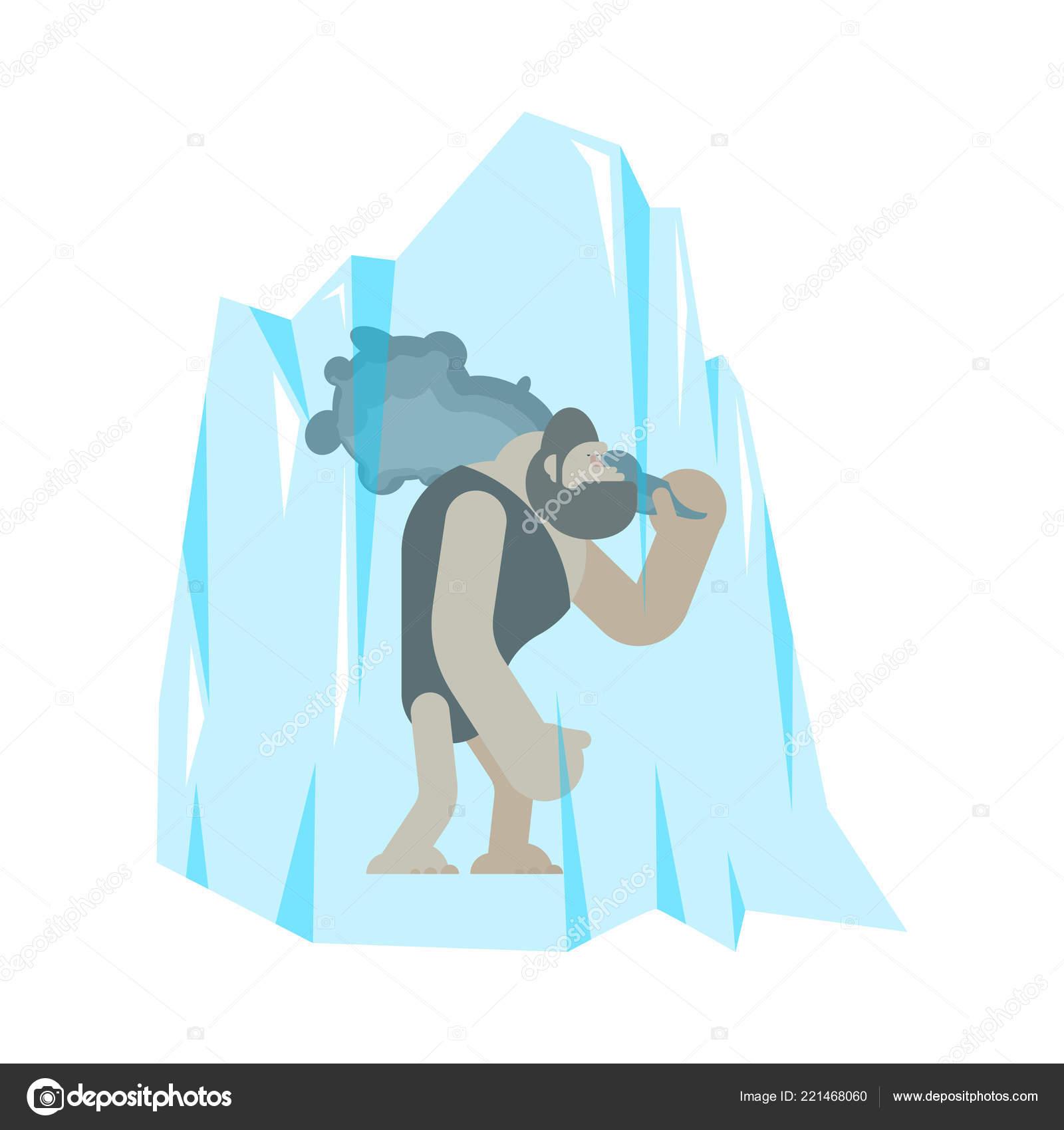 Cavernicolo congelato nel ghiaccio uomo preistorico club antica età
