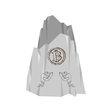 Rock painting. Ancient people worship bitcoin. Cryptocurrency Vector illustratio