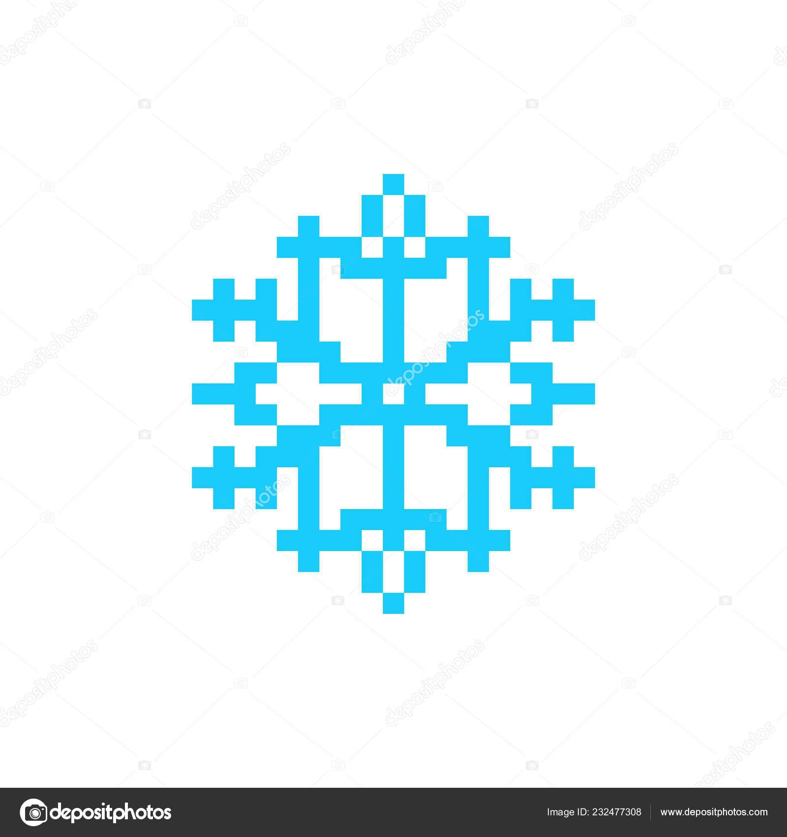 Snowflake Pixel Art Icon Snow 8bit Image Vectorielle