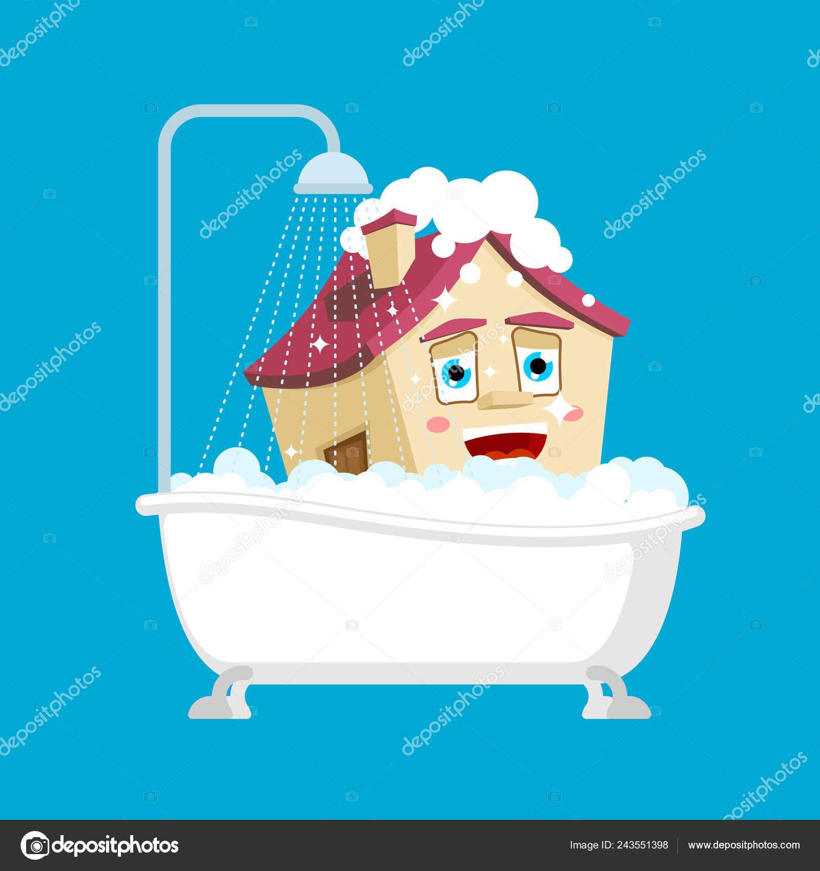 Casa Limpia Baño Aislado Casa Baño Estilo Dibujos Animados