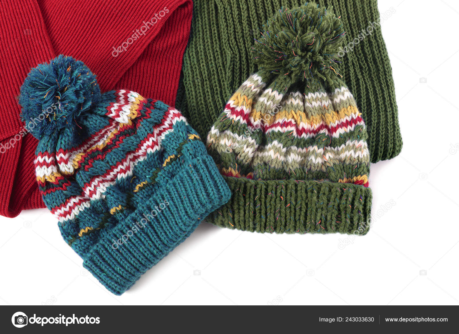 96139b9cc Two Bobble Ski Hats Scarves Isolated — Stock Photo © david_franklin ...