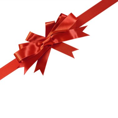 Corner diagonal red bow gift ribbon isolated on white