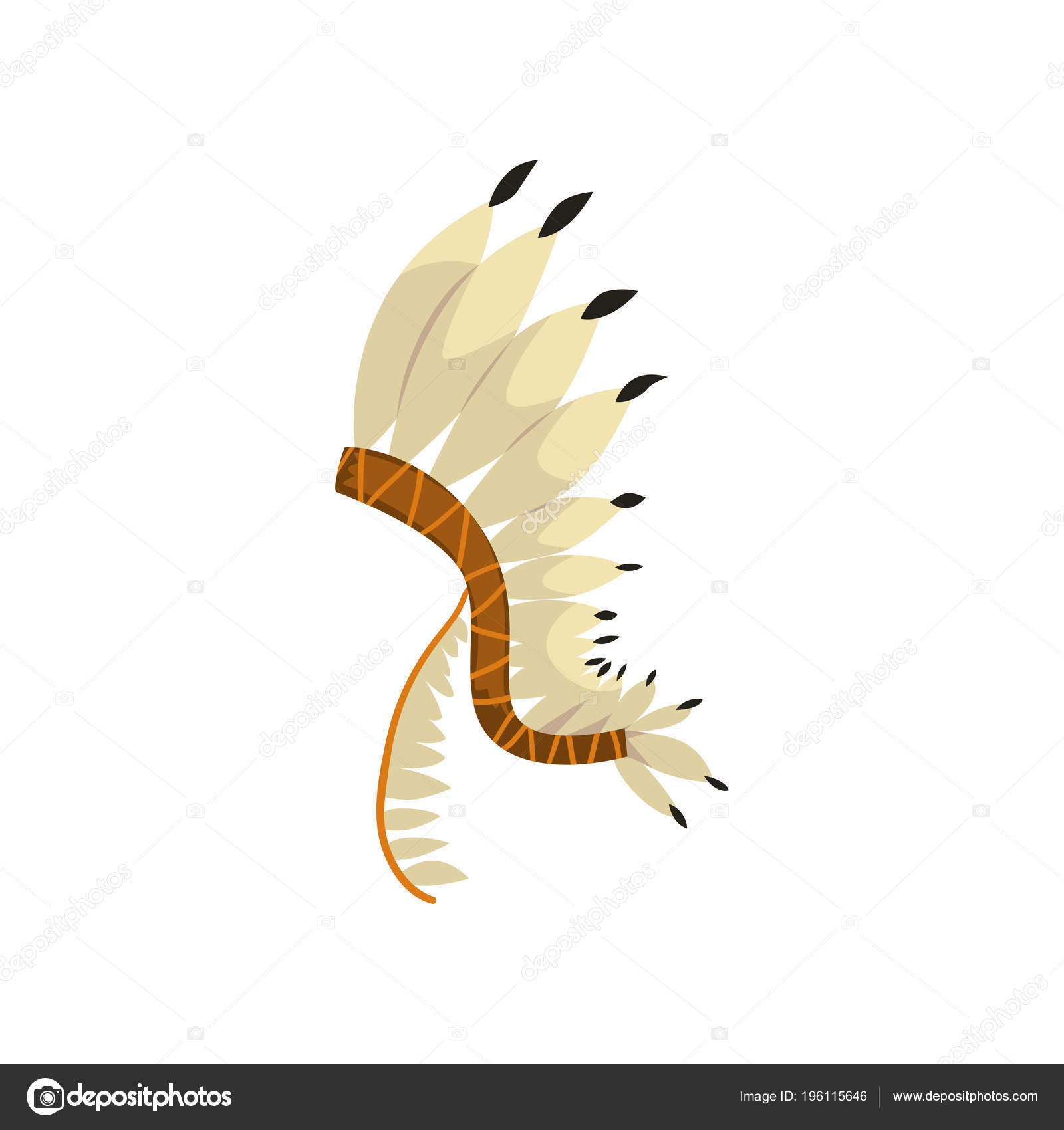 Tocado Indio Nativo Americano Con Plumas Vectoriales Ilustración ...