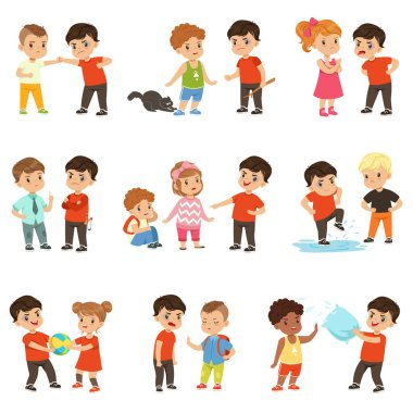 Brave children characters confronting hooligans set, bad boy bullying a smaller kid vector Illustrations on a white background
