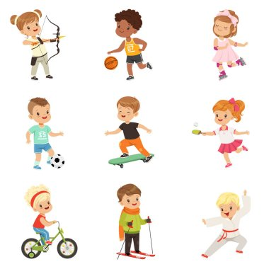 Cute little children playing different sports, soccer, basketball, archery, karate, cycling, roller skating, skateboarding sport vector Illustrations on a white background