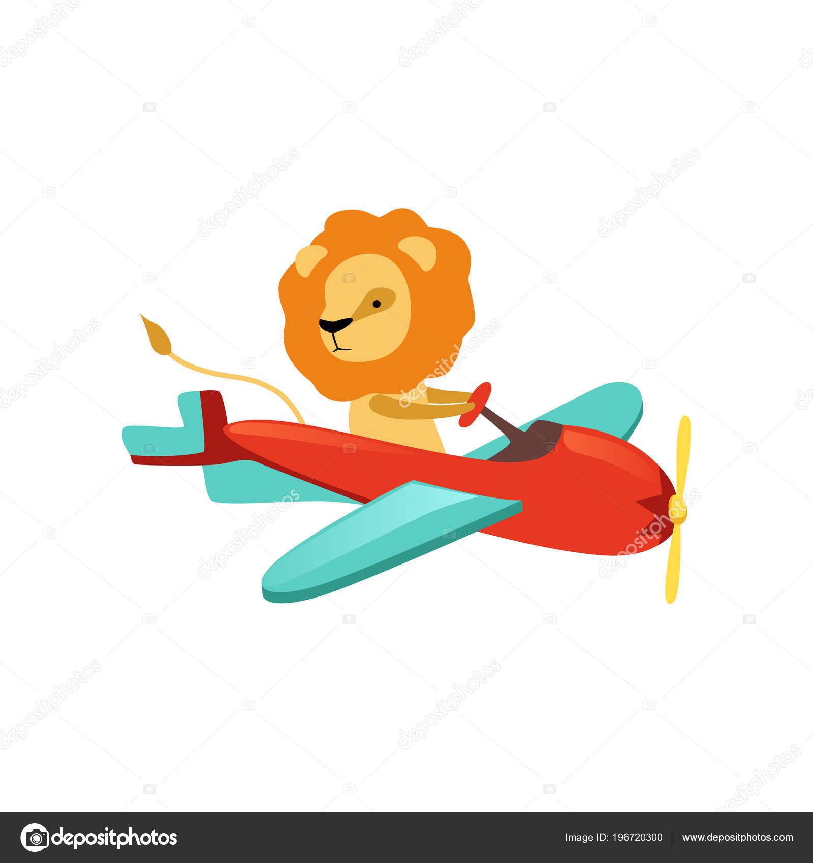 Vettore: aeroplani per bambini. leone africano con la criniera