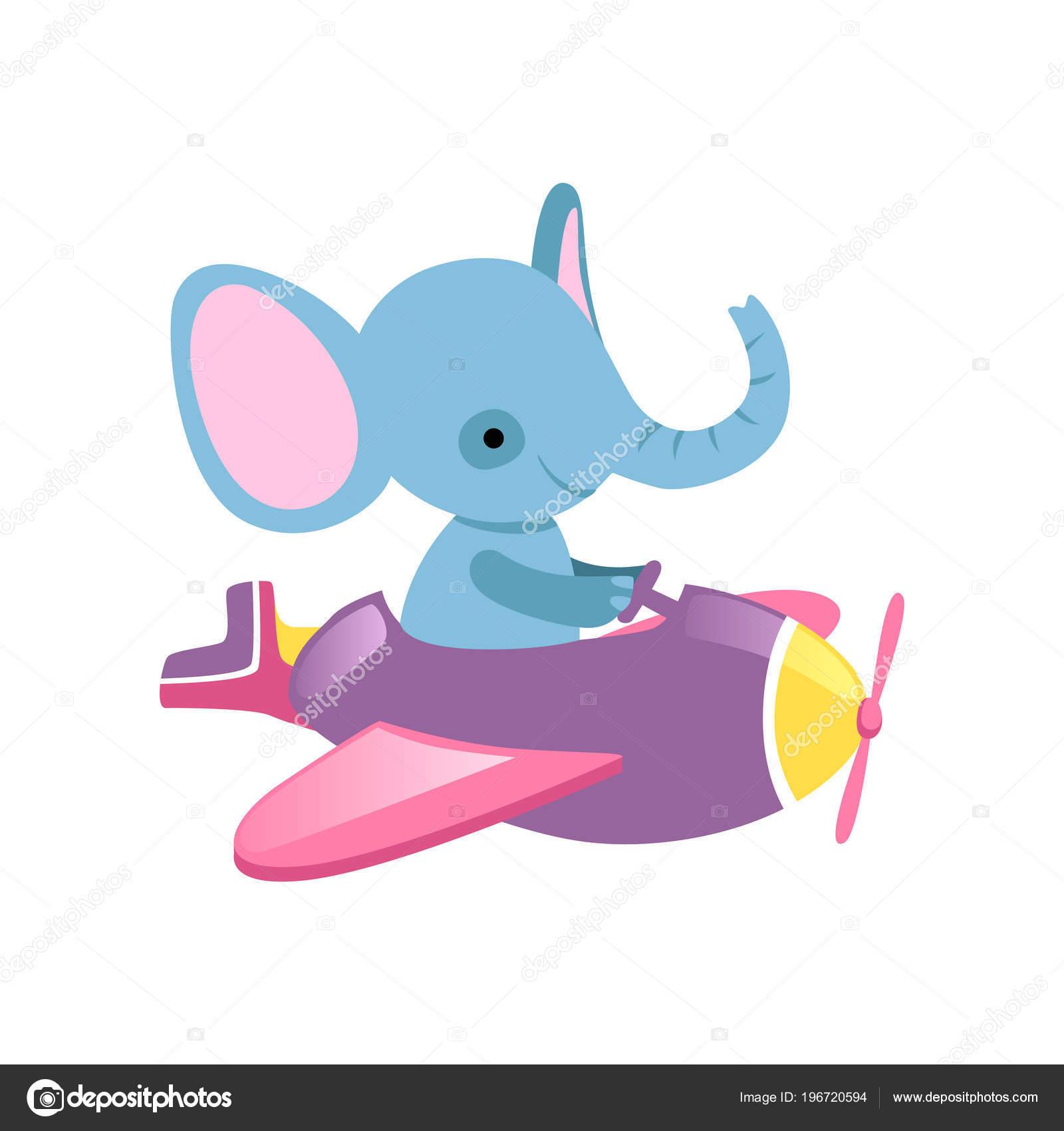 Elefante blu di volo il piccolo aereo. animale selvatico con grandi