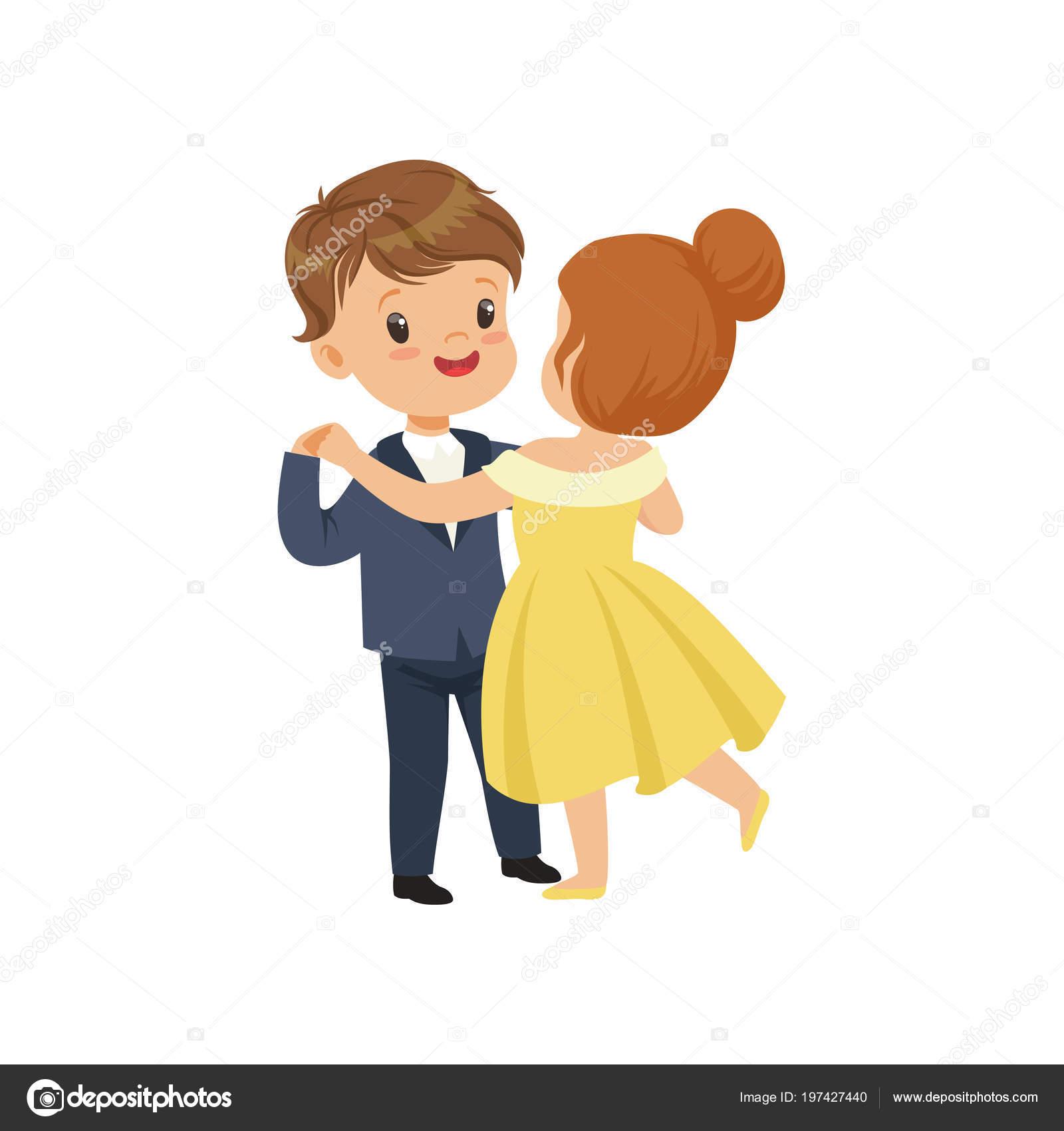 白地にかわいい男の子と女の子のエレガントな服でワルツを踊るベクトル