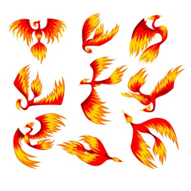 Flaming phoenix bird set, fairy tale character from Slavic folklore vector Illustrations on a white background