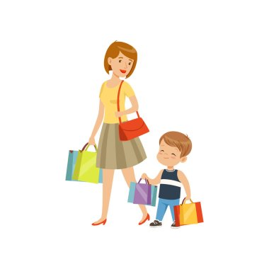 Little boy helping his mother carry shopping bags, kids good manners concept vector Illustration on a white background