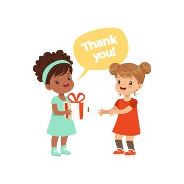 Girl thanking a friend for a gift, kids good manners concept vector Illustration on a white background