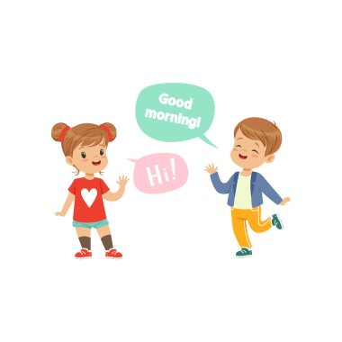 Boy and girl greeting each other, kids good manners concept vector Illustration on a white background