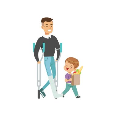 Little boy helping disabled man carry shopping bag, kids good manners concept vector Illustration on a white background