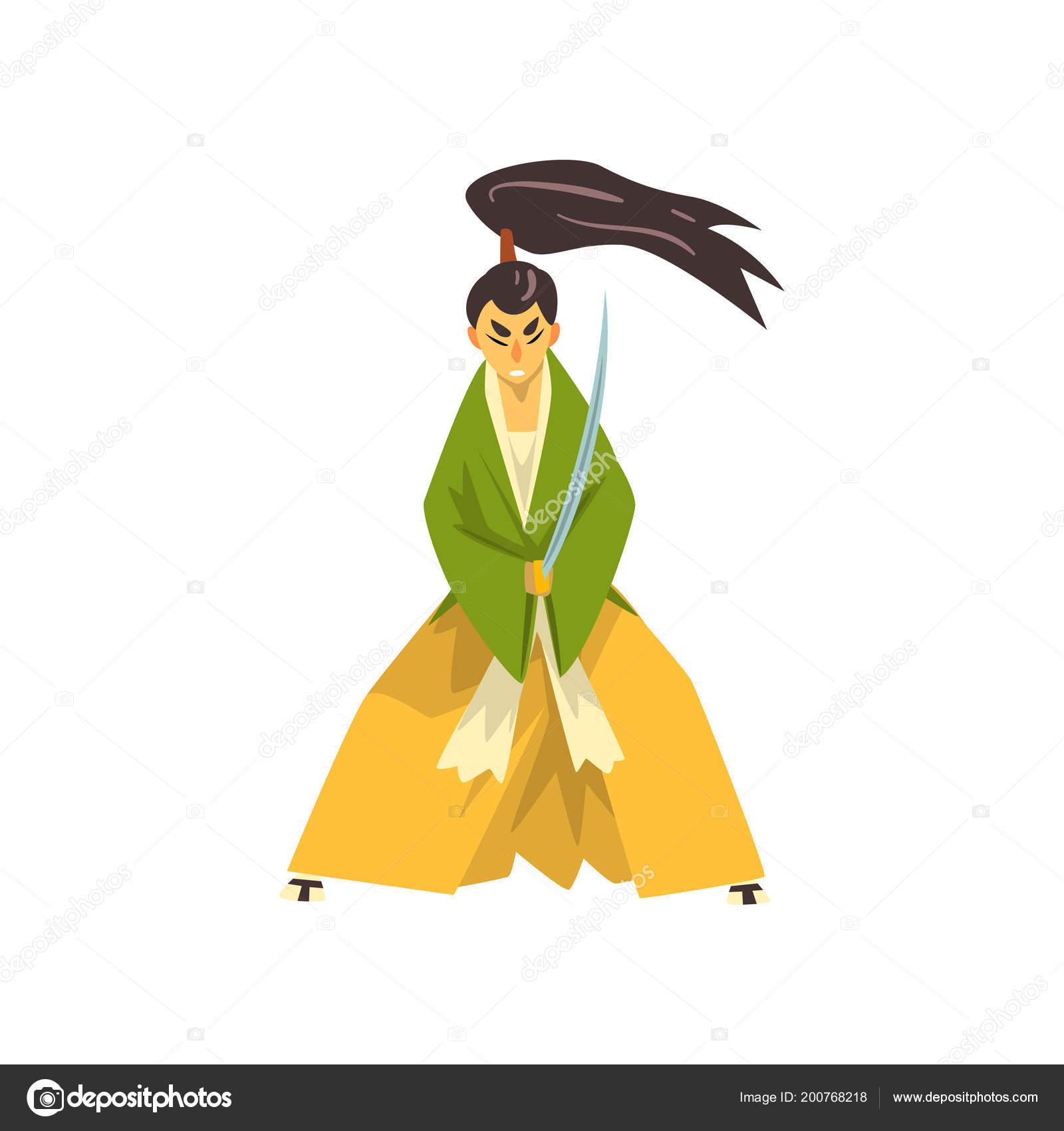 Samourai Dessin Anime Personnage Avec Katana Epee Guerrier Japonais
