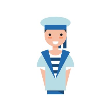 Sailor boy character in blue uniform vector Illustration on a white background