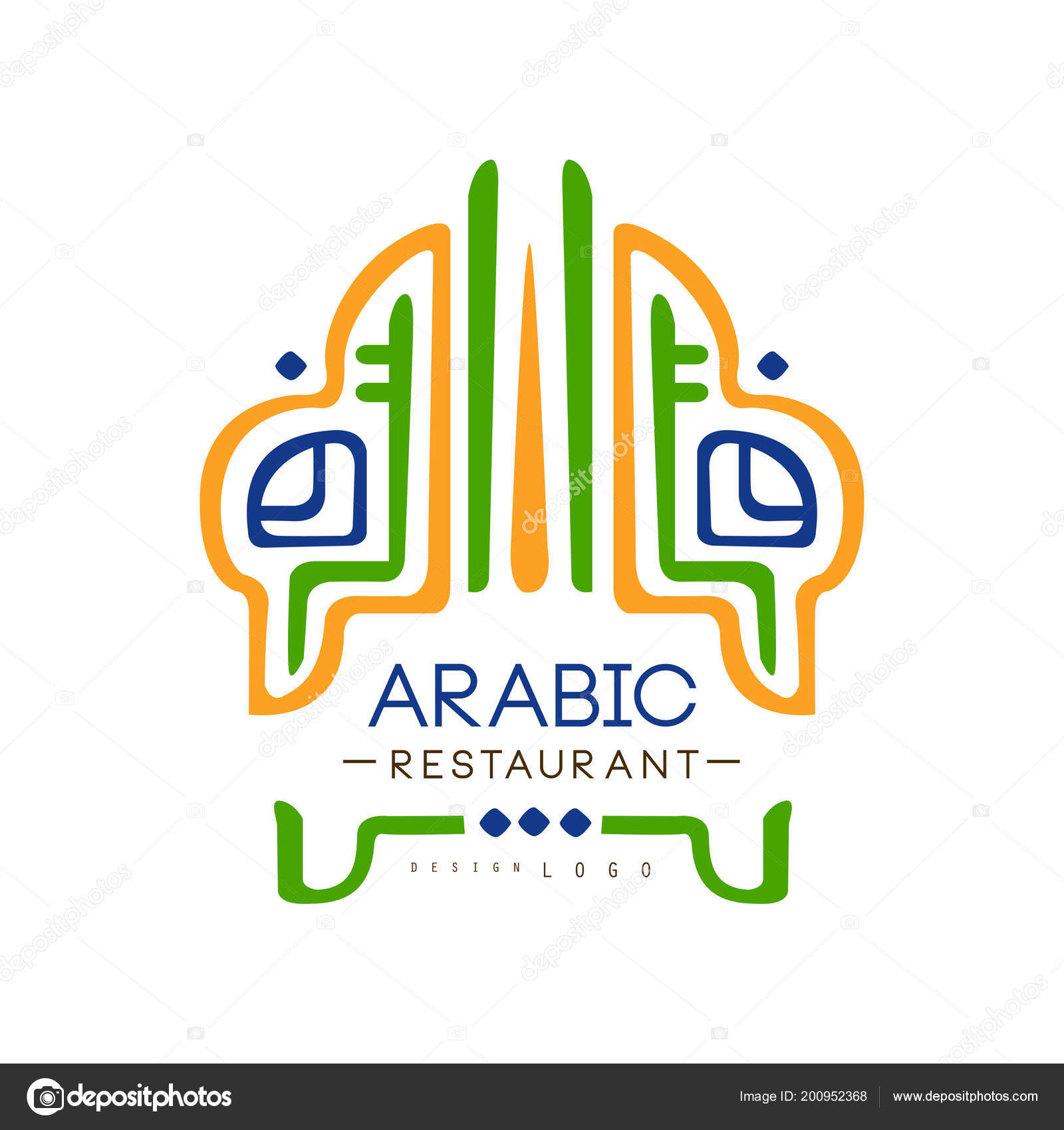 Arabic Restaurant Cuisine Logo Design Authentic Traditional Continental Food Label Can Be Used For Cafe Bar Restaurant Menu Vector Illustration On A White Background Stock Vector C Topvectors 200952368
