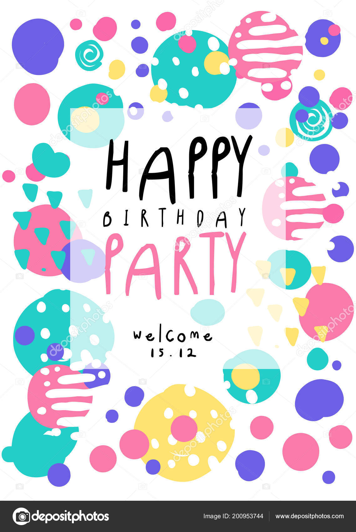 happy birthday party poster with date colorful template can be used