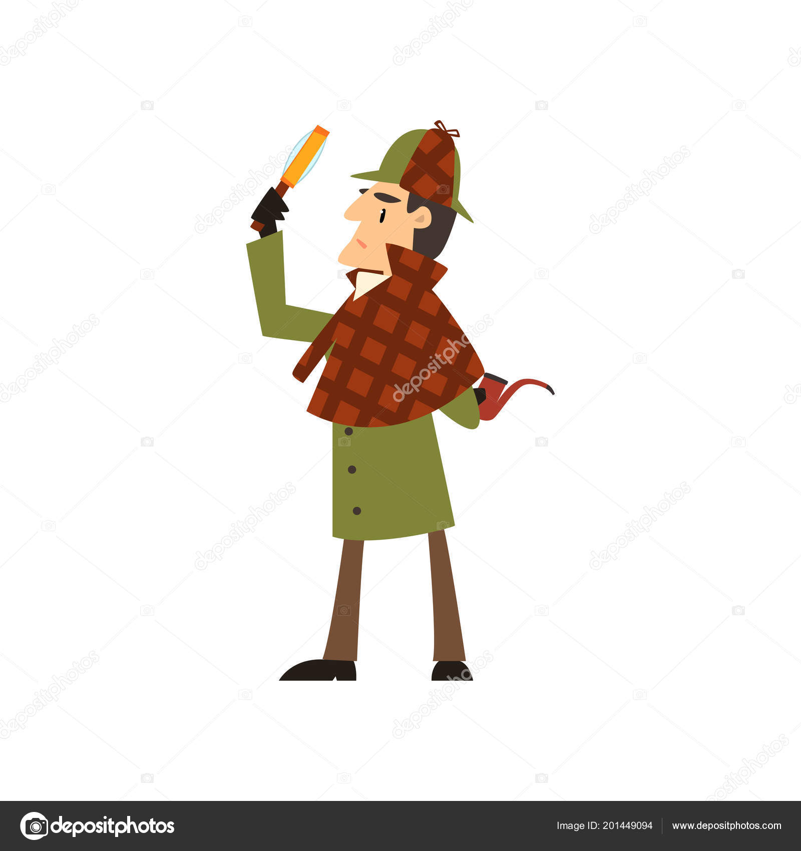 2ecef45b6 Sherlock Holmes detective character with magnifying glass and ...
