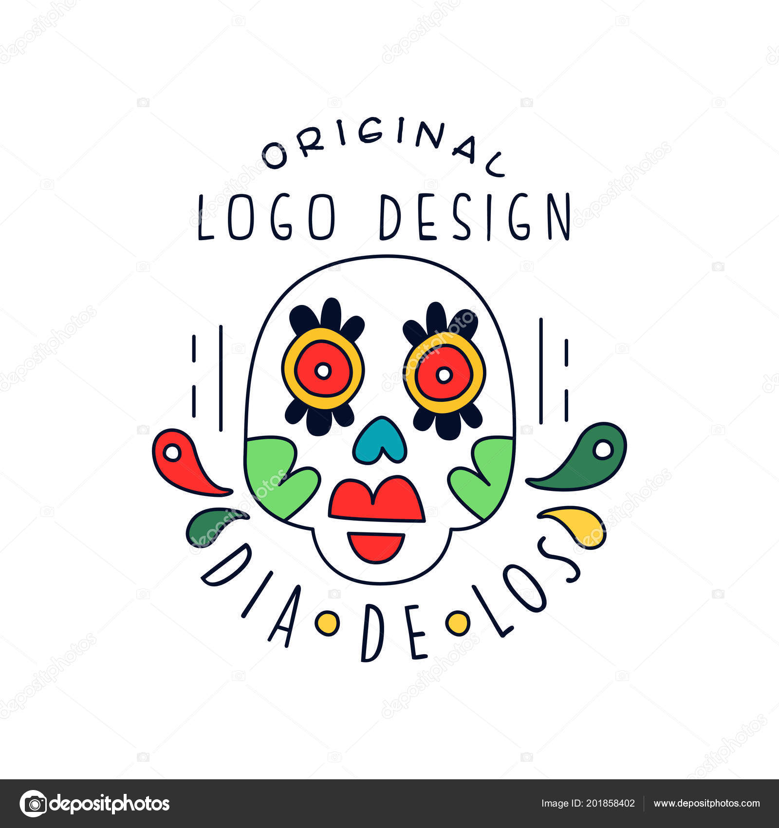 Dia de los original logo design traditional mexican day of the dead dia de los original logo design traditional mexican day of the dead holiday party decoration banner greeting card or invitation hand drawn vector stopboris Image collections