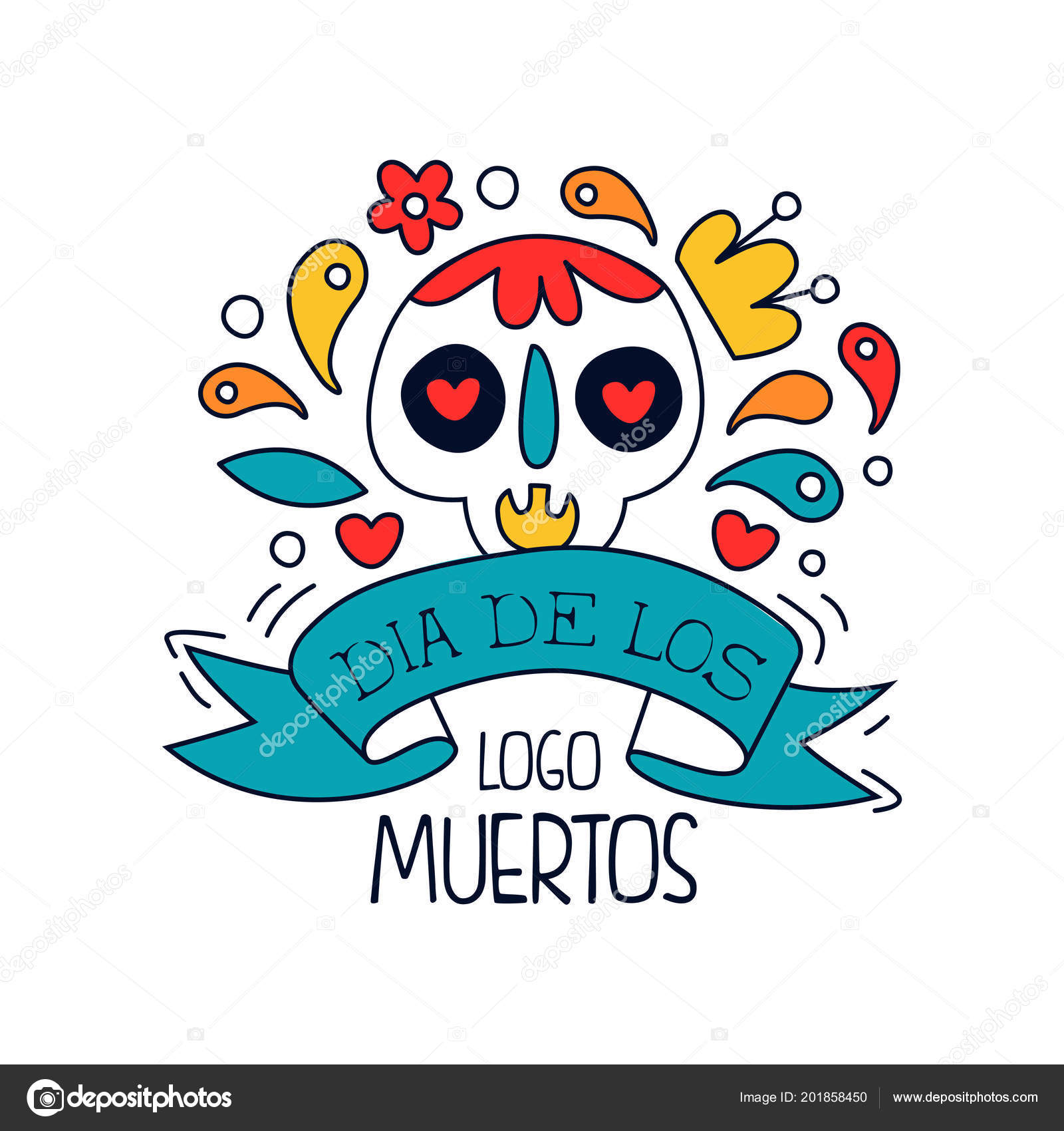 Dia de los muertos logo traditional mexican day of the dead design traditional mexican day of the dead design element with sugar festive skull holiday party banner poster greeting card or invitation hand drawn vector stopboris Image collections