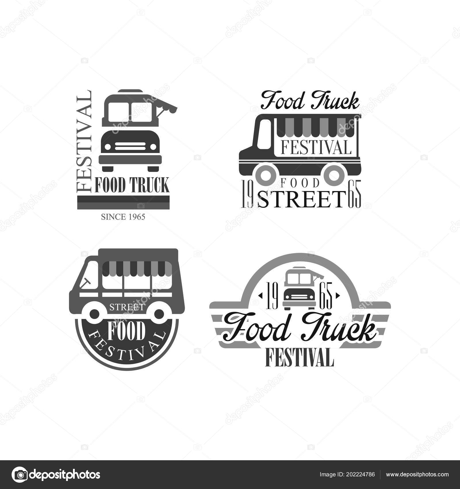 vector set of emblems and badges for food truck festival original