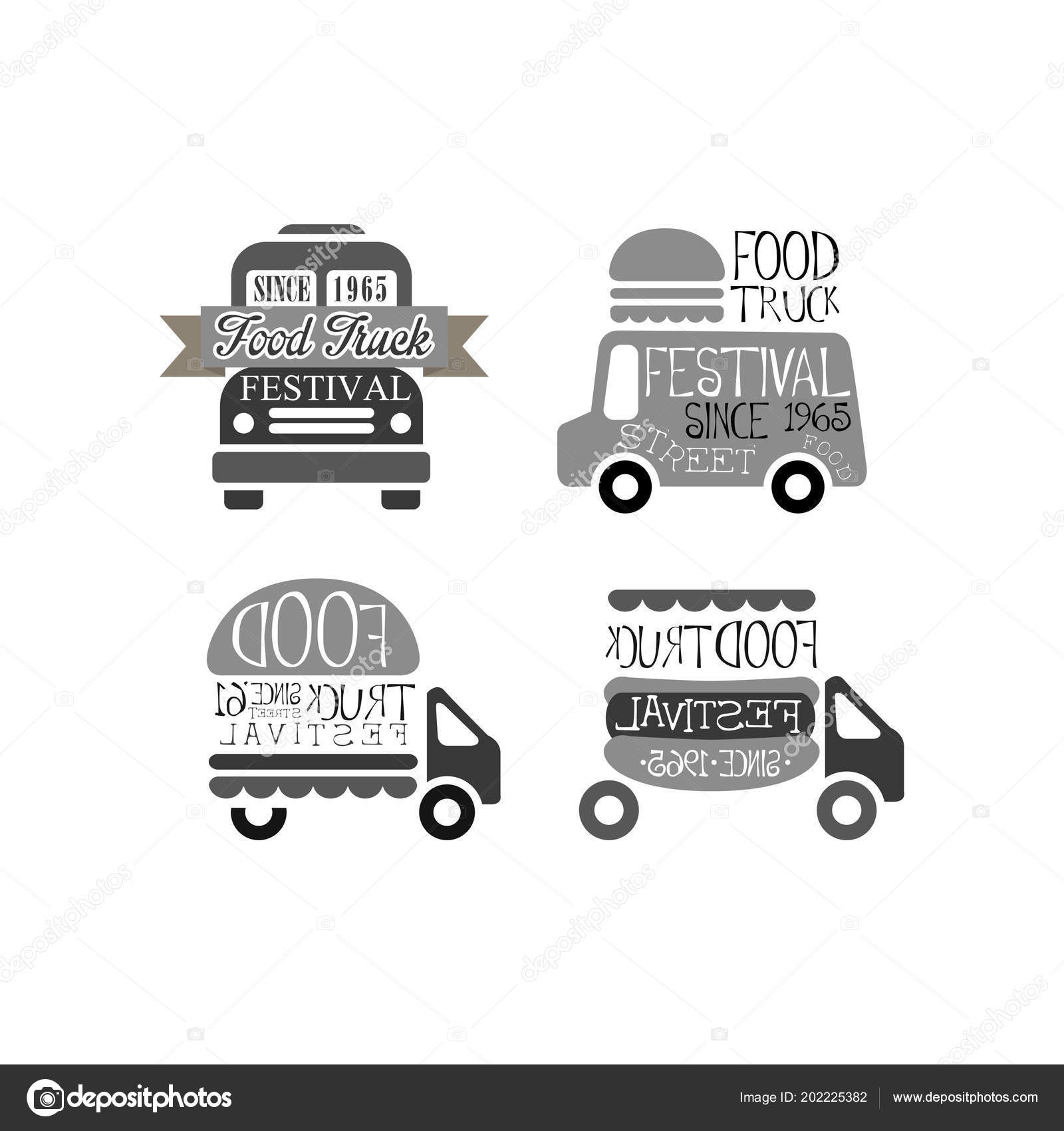 vector set of original logo templates for food truck festival
