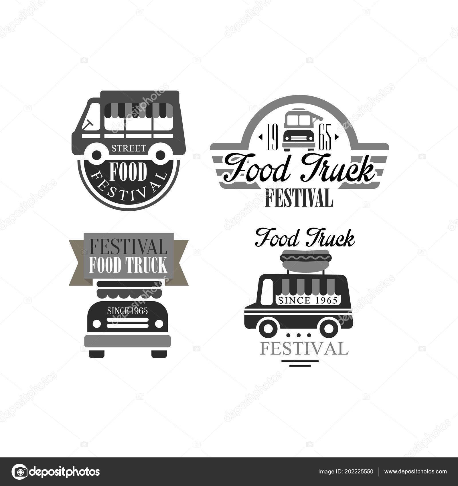 set of original logo templates for food truck festival monochrome