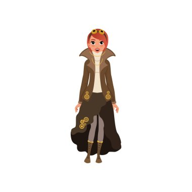 Red-haired steampunk woman. Young girl in blouse, jacket and skirt with chains and gears, boots with lacing and vintage goggles on head. Flat vector