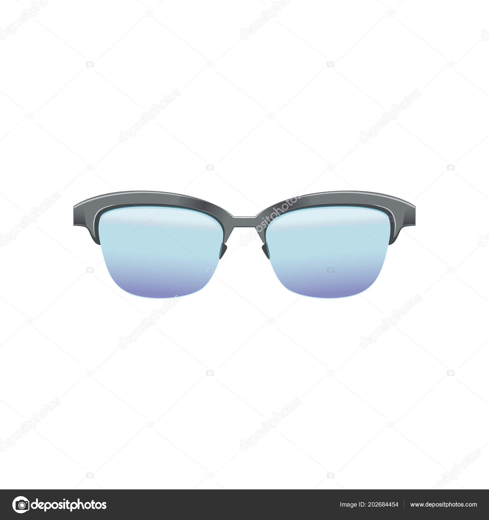 8fbb2f5c14 Classic clubmaster glasses with blue lenses and metallic half frame.  Fashion spectacles for mens. Flat vector design for mobile app– stock  illustration