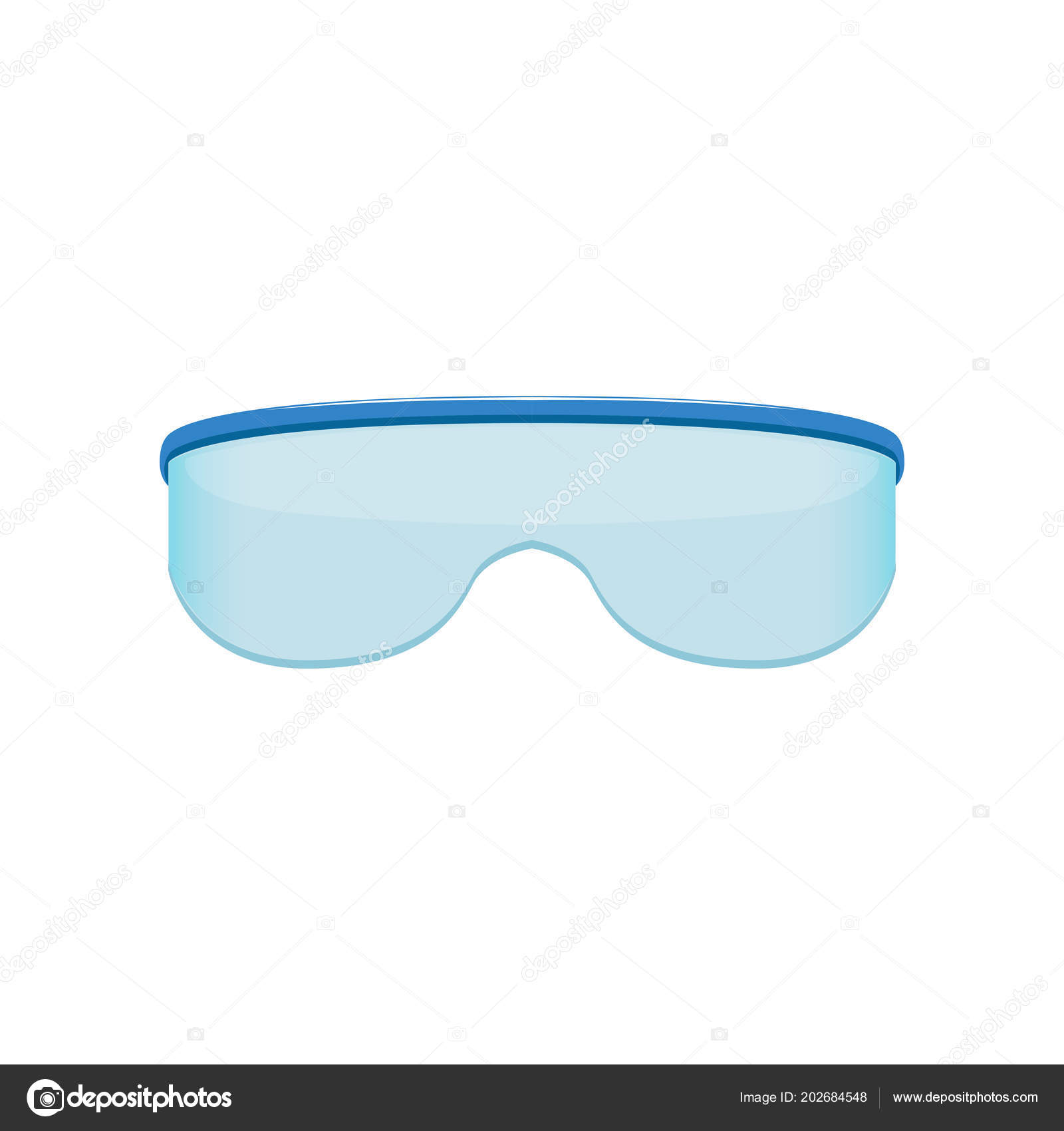 Shield style sunglasses with blue tinted lenses  Protective