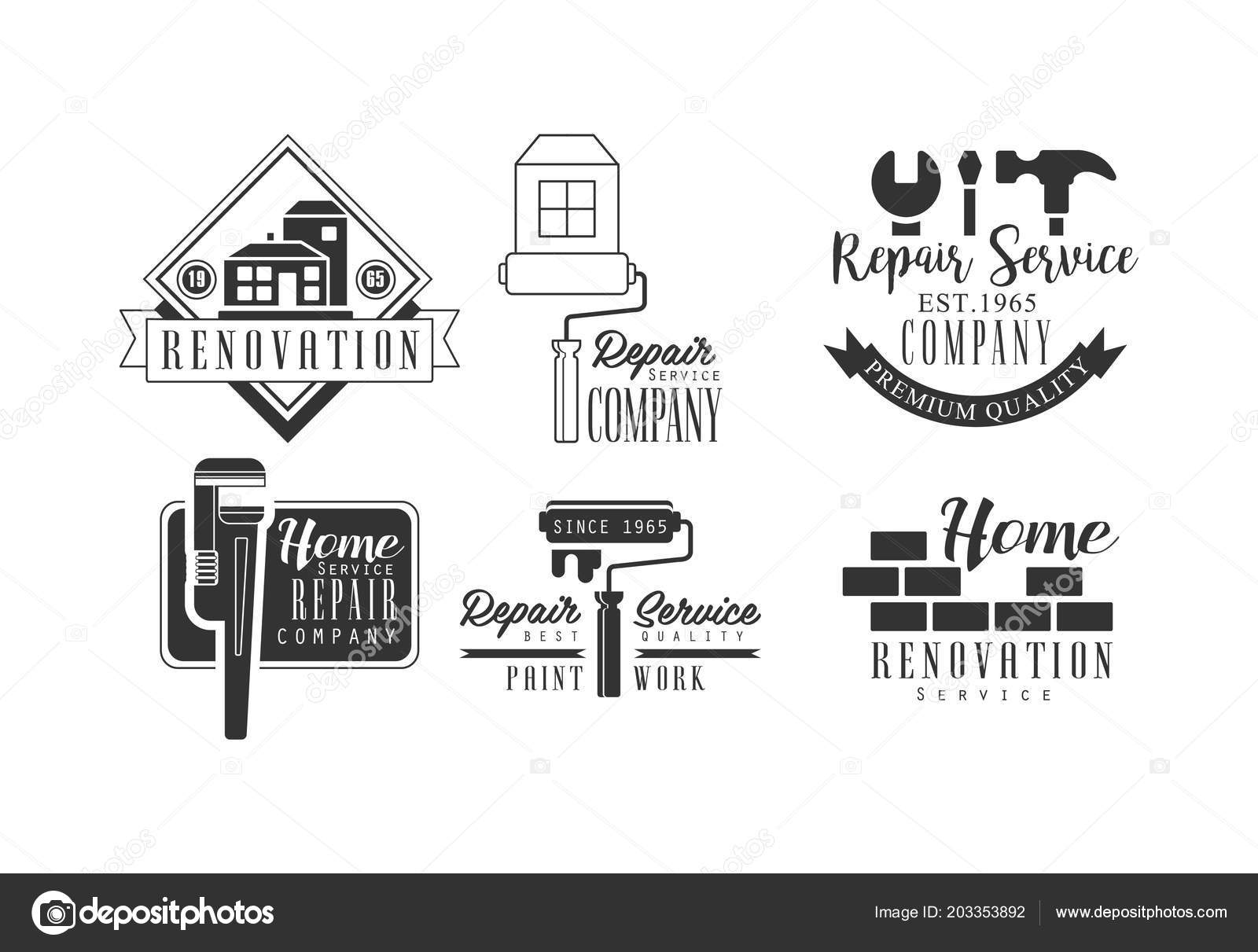Set Of Creative Logos For Repair Services Monochrome Vector