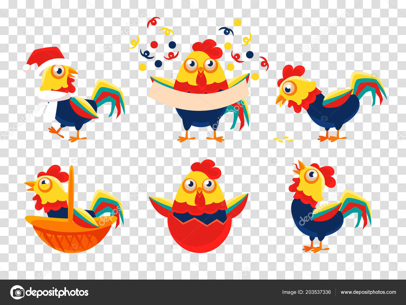 Set Of 6 Bright Colored Roosters Symbol Of Chinese New Year