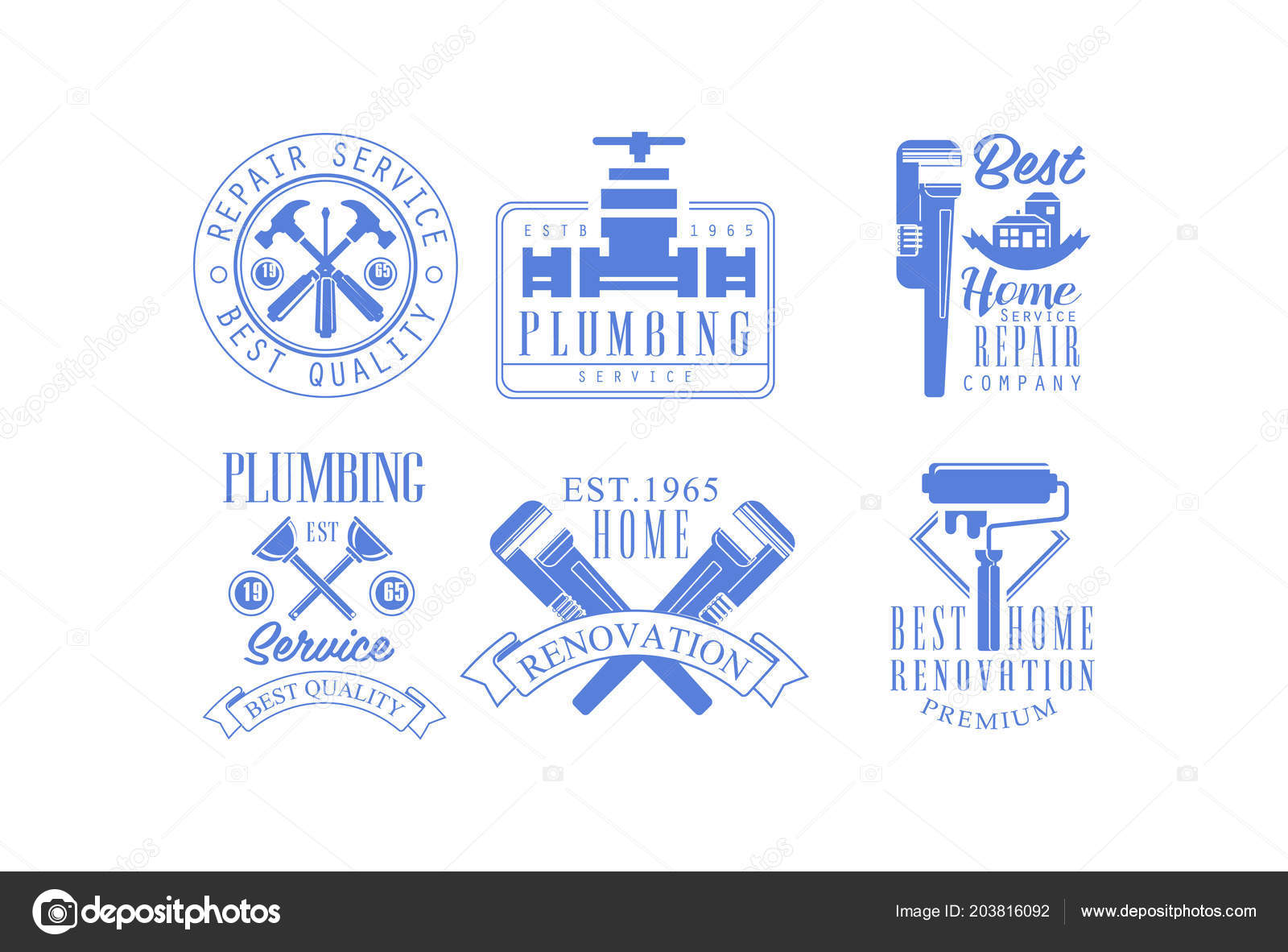 Set Of Blue Emblems For Plumbing And Construction Services