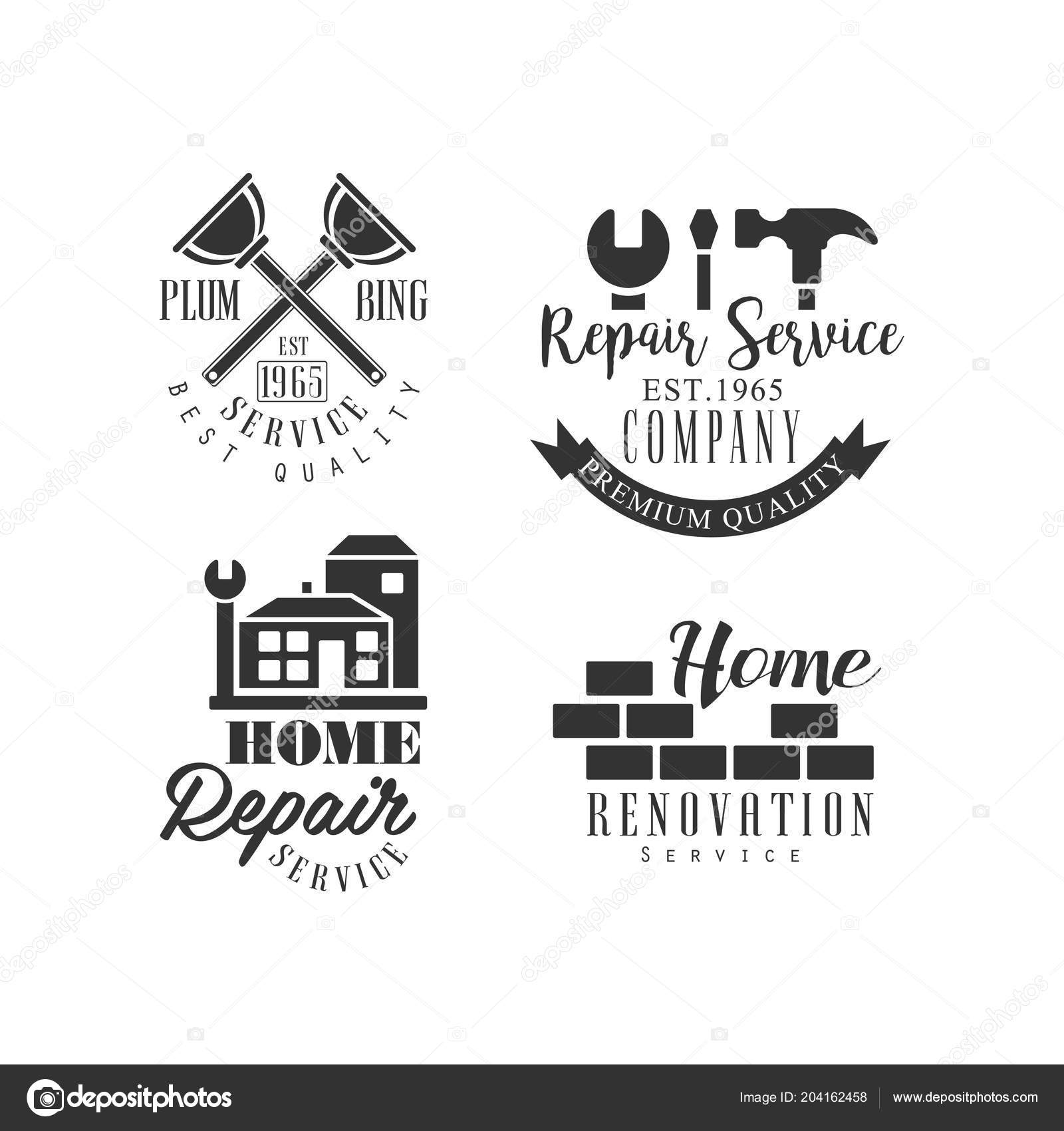 Set Of Logos For Repair Services Black And White Vector