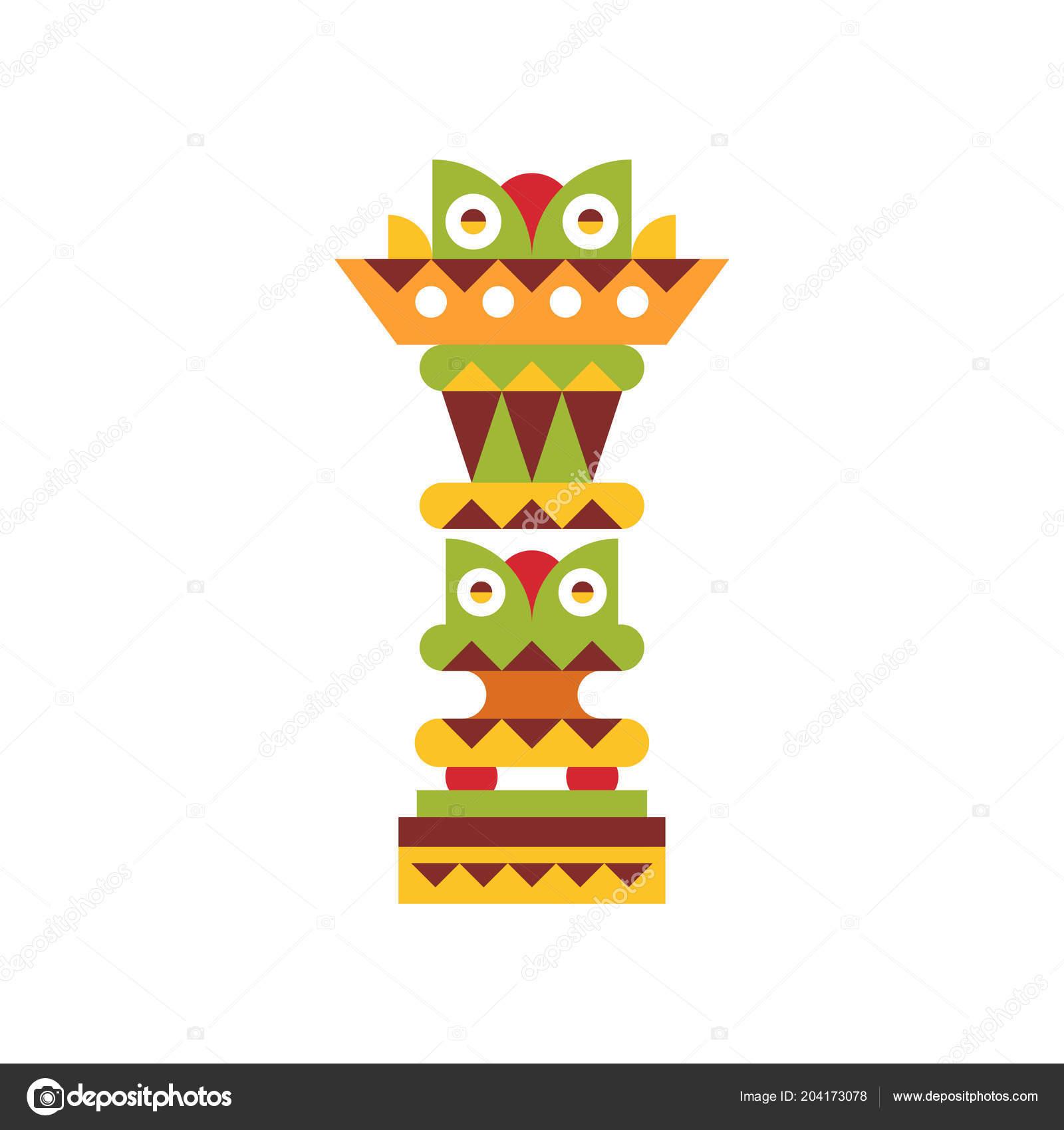 Religious Totem Pole Native Cultural Tribal Symbol Vector