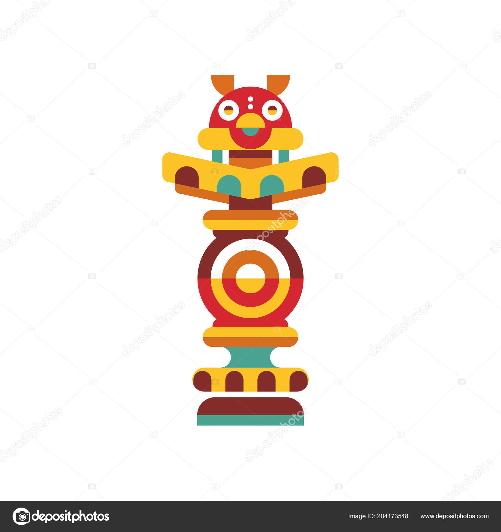 Religious Totem Pole Traditional Native Cultural Tribal Symbol