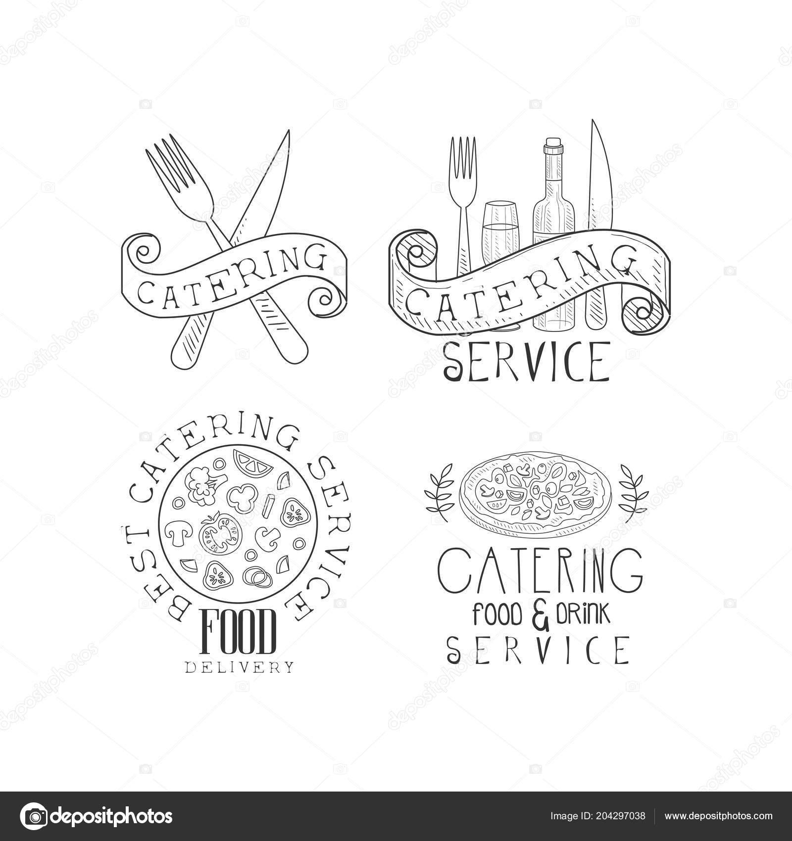 Modeles De Logo Dessine Avec Nourriture Bouteille Vin Et Verre Fourchettes Couteaux A La Main Conception Creative Vecteur Pour Carte Visite