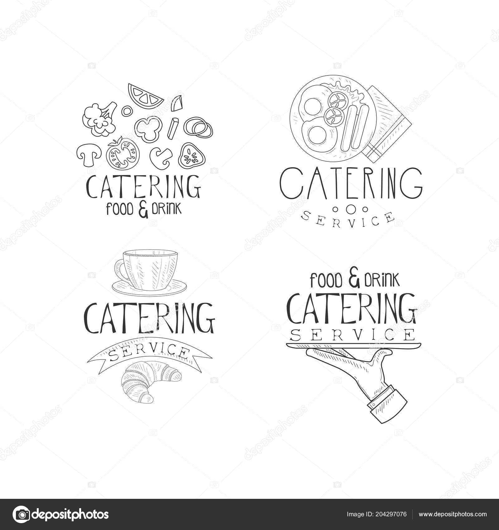 Set Of Vector Emblems For Catering Companies Food Service Monochrome Logos With Vegetables English Breakfast Coffee Cup And Hand With Tray Vector Image By C Topvectors Vector Stock 204297076