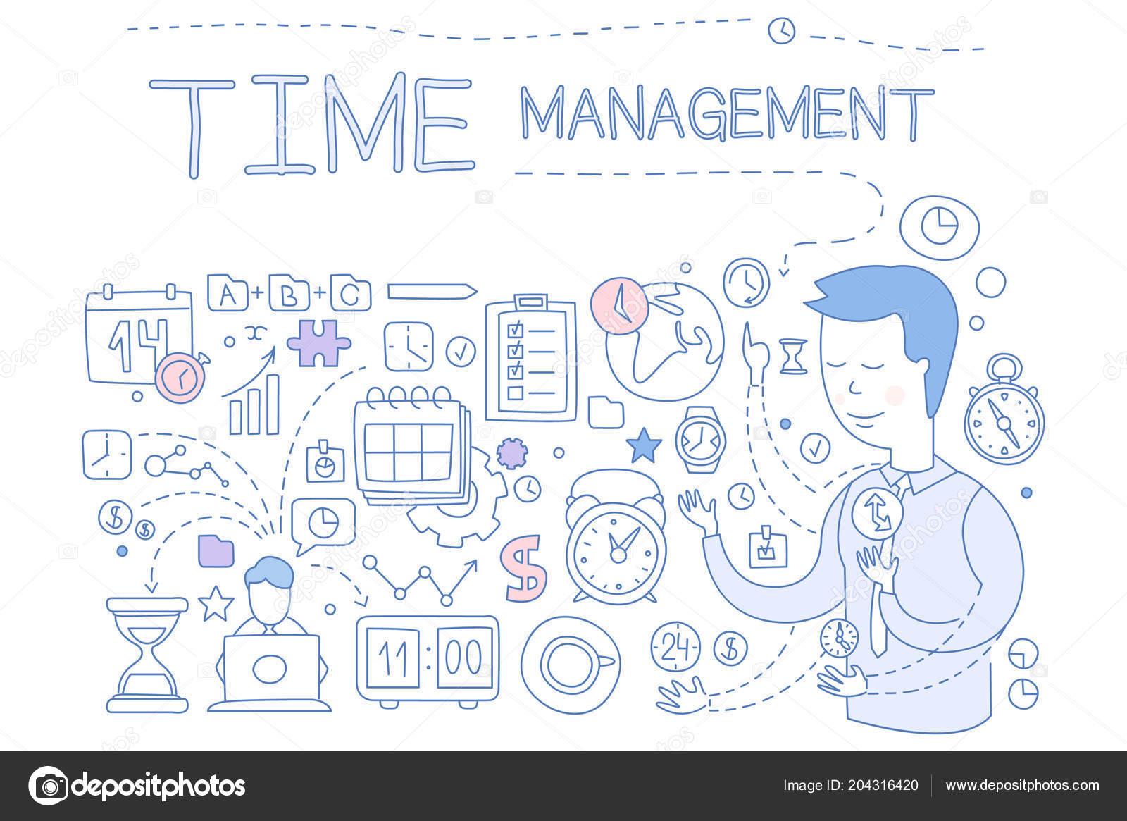 Time Management Set Hand Drawn Business Planning Design Elements For Banner Poster Brochure Flyer Advertising Vector Illustration Stock Vector C Topvectors 204316420