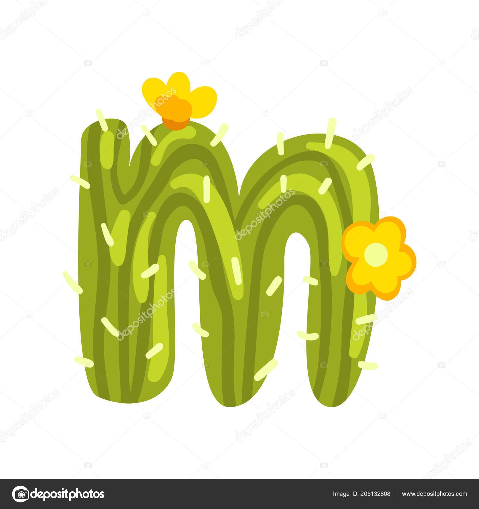 M Brief In Form Eines Kaktus Mit Blühenden Blumen Grüne