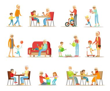 Grandparent spending time with grandchildren set, grandma and grandpa playing, walking, reading books, having dinner with grandchildren vector Illustrations on a white background