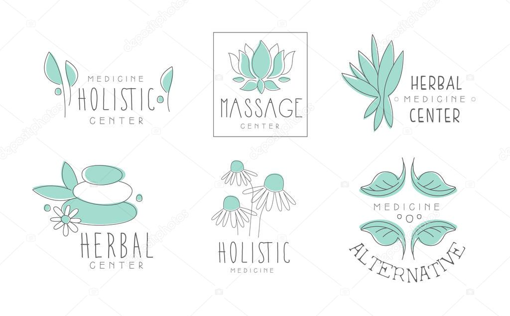 Alternative medicine logo design set, herbal, massage, holistic center hand drawn vector Illustrations on a white background