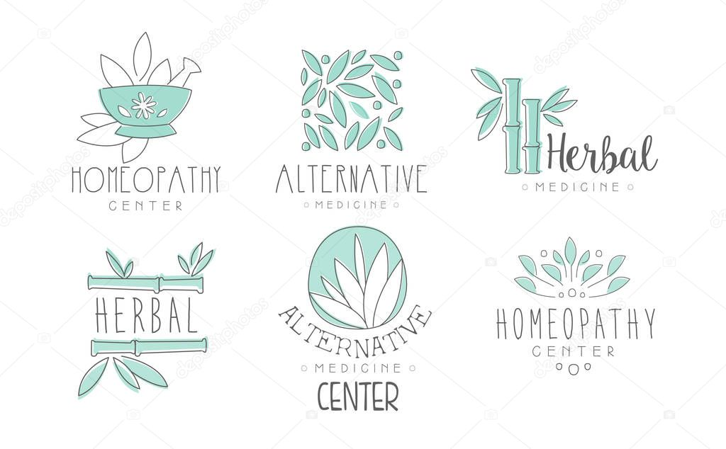 Alternative medicine logo design set, herbal medicine, homeopathy center hand drawn vector Illustrations on a white background